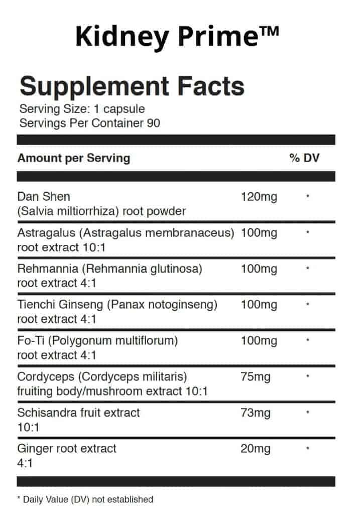 Kidney Prime Ingredients Label - Supplement Facts