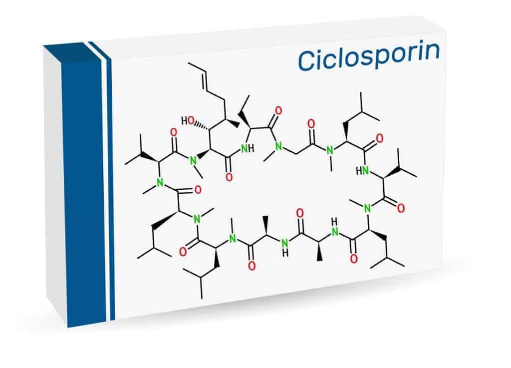 Ciclosporin, cyclosporine, cyclosporin molecule. It has immunomodulatory properties, prevent organ transplant rejection, treat inflammatory, autoimmune conditions. Paper packaging for drugs
